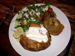 SWEET POTATO VEGETARIAN SCHNITZEL WITH SPINACH AND FETA STUFFING AND SALAD