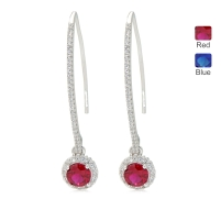 401745a6 Charlie Lapson long drop earrings ruby